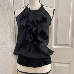 The Limited Black Ruffled Sleeveless Top Blouse S